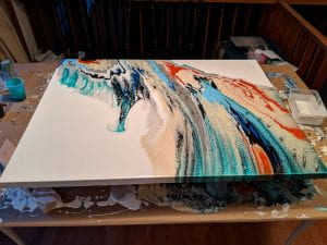 Full view of fluid acrylic painting