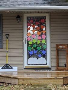 Paper hearts on a door
